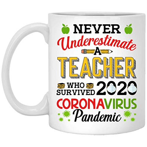Never Underestimate A Teacher Who Survived 2020 Cor-onavirus Pandemic Coffee Mug