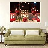 zsBig6 Pinturas de Lienzo Imágenes 3 Piezas Modern Vins Red Wine Cup Bottle Wall Art Painting Set Bar Comedor Decoración de la Cocina 40x80cmx3 Sin Marco