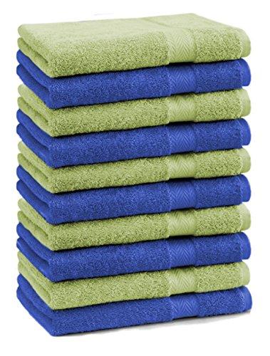 Betz Lot de 10 Serviettes débarbouillettes lavettes Taille 30x30 cm 100% Coton Premium Couleur Vert Pomme et Bleu Royal