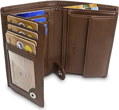 TRAVANDO Geldbörse Herren Dublin - TÜV geprüft - 13 Kartenfächer - Hochformat - RFID Schutz - Geschenk für Männer - inklusive Geschenk Box - Designed in Germany (Braun)