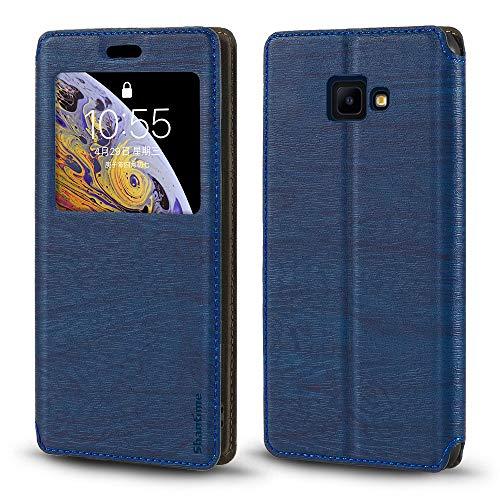 Samsung Galaxy J4 Core Hülle, Holzmaserung, Lederhülle mit Kartenfach & Fenster, Magnetverschluss, Flip Cover für Samsung Galaxy J4 Core