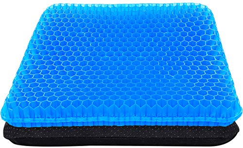 Gel Seat Cushion, Double Thick Big Gel Seat Cushion, Honeycomb Design Gel Seat Cushion for Pressure Relief Back Pain, Gel Cushion for Home Office Chair Cars Wheelchair(with Non-Slip Seat Cover)