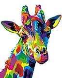 Dipingi per numero Kit, Dipinto ad olio Fai da te Disegno Giraffa colorata Tela con pennelli Decorazioni Decorazioni Regali - Frameless 16 * 20 pollici