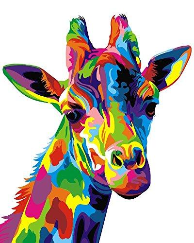 Dreamsy Malen nach Anzahl Kit, DIY Ölgemälde Zeichnung Bunte Giraffe Canvas mit Bürsten Dekor Dekorationen Geschenke - 16 * 20 Zoll Rahmenlos