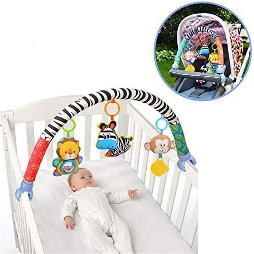 YSYDE Juguetes de Asiento de Coche de bebé, Adorno de Cuna de Cochecito de bebé, sonajero Colgante de Animal de Dibujos Animados, con león, Cebra, Mono, para recién Nacidos 0-18 Meses