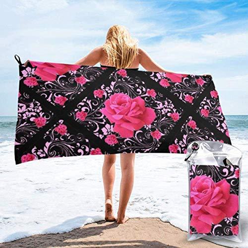 N/A FUCHSIA PINK ROSE ZWART BROCADE GARDEN ART Beach Sneldrogende handdoek Microvezel Yoga Fitness Absorberende handdoek Outdoor Klimmen Sneldrogende handdoek