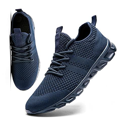 MGNLRTI Herren Schuhe Sneaker Laufschuhe Walkingschuhe Sommerschuhe Sportschuhe Straßenlaufschuhe Turnschuhe Fitnessschuhe Joggingschuhe Workout Freizeitschuhe Männer Running Shoes Gym Blau EU42