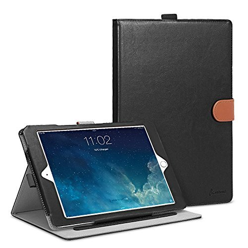 iPad Air 2 Case, Cambond Ultra Slim Light Weight Sleep Awake Smart Stand Case Cover with Card Slots and Stylus Holder, Protective Premium PU Leather Cover Case for Apple iPad Air 2 (iPad 6), Black