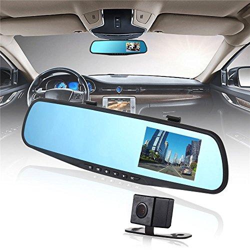 """UGI 4.3"""" große Bildschirm Auto DVR 1080P Dual Lens Auto Spiegel Dash Cam Recorder Rückfahrkamera für Autos vorne und hinten mit Nachtsicht, Weitwinkel, Loop Recording"""