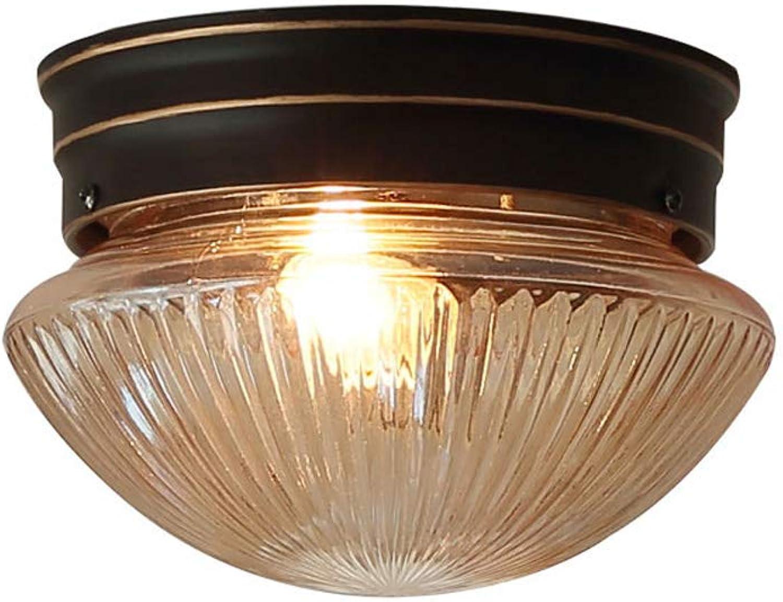 Mpotow Amerikanischen Nordic Kreative Deckenleuchte Eisen Kunst Runde Glas Einzigen Kopf Deckenleuchte Korridor Balkon Hauseingang Dekoration Schlafzimmer Lampen Hngelampe