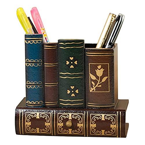 Guuisad Libro Forma Madera artesanía lápiz Taza Soporte Retro de Madera bolígrafo para el hogar decoración de Escritorio decoración de Escritorio cajones cajones Titular de papelería Regalos