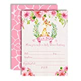Watercolor Dahlia Floral Giraffe-Themed Baby Girl Sprinkle Shower Invitations, 20 5'x7' Fill in Cards with Twenty White Envelopes by AmandaCreation