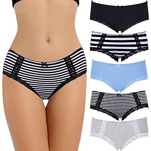COMSOFT Soft Baumwolle Damen Slip Hipster Unterhosen Damen (Mehrfarbig F, XL)