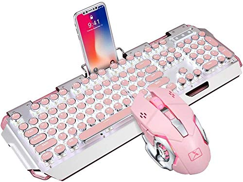 Combinación de Teclado y ratón mecánico para Juegos de máquina de Escribir, Teclado mecánico Retro para Juegos de Tipo Punk con 104 Teclas, para Juegos y Oficina, Rosa Elegante Teclado mecánico