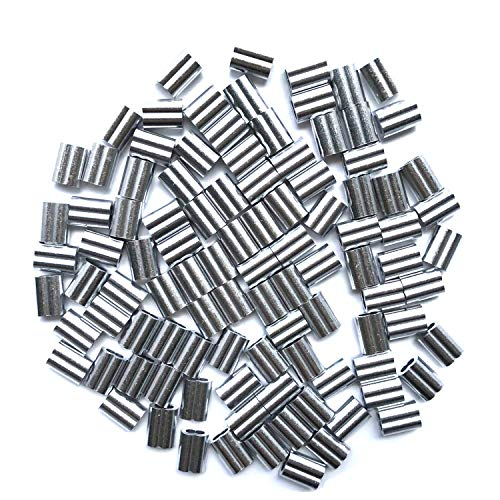 HEVERP 100PCS Aluminum Crimping Loop Sleeve for 1/8 Inches Diameter Wire Rope and Cable