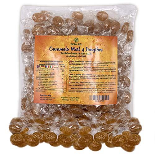 500 g - Caramelos (Sin Azúcar) con miel y jengibre. Sin alergenos. Recomendado para el mal aliento, el aparato bucal y la garganta.