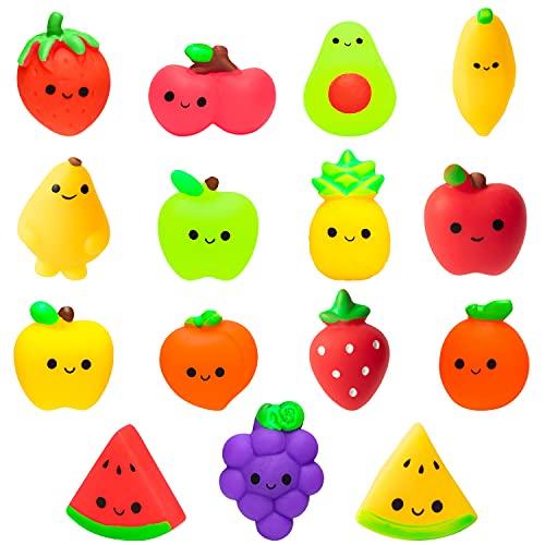 15 juguetes para apretar para niños Kawaii de silicona para alimentos de animales y frutas, paquete de juguetes para decoración de alivio del estrés, juguetes para rellenos