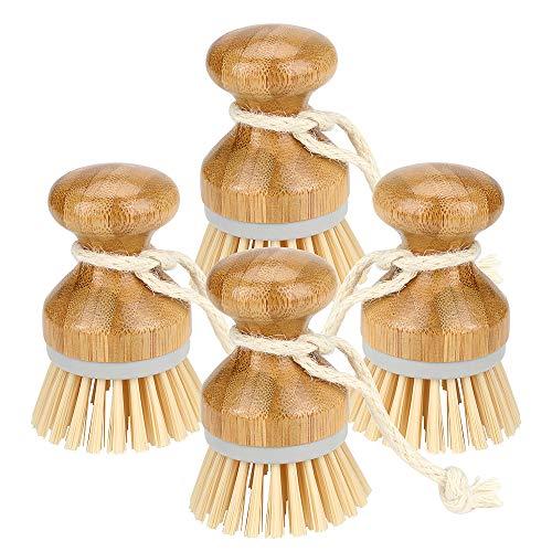 Brynnl 4 pièces brosse à récurer en bambou Mini brosse à vaisselle en paume ensemble de brosses à vaisselle naturelles laver les casseroles en fonte casseroles pour évier de cuisine, salle de bain