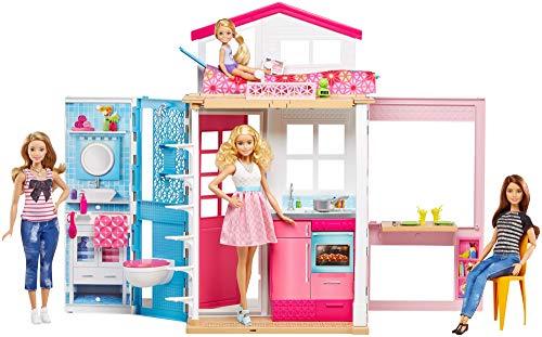 Mattel DVV48 Barbie - Casa con Muñeca y Accesorios, Dos Pisos, Plegable, Multicolor, Color/Modelo Surtido