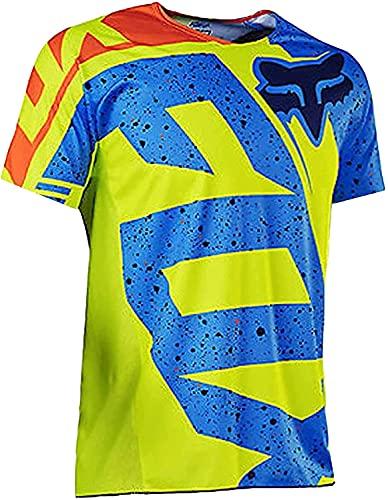 Maillot Ciclismo De Manga Corta para Hombre, Camisetas De Ciclismo Transpirables De Secado Rápido (Orange,XS)