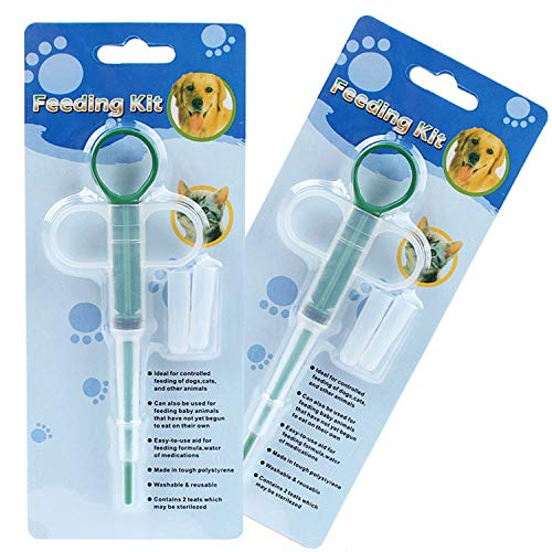 OUOU Pet Pill Dispenser 2 Pack Dogs and Cats Medicine Feeder Tool Kit Silicone Syringes for Cats Dogs Small Animals  Super Durable and Reusable Extremely Convenient Green