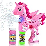 ArtCreativity Pink Unicorn Bubble Blaster with Light and Sound, Includes 1 Bubble Gun & 2 Bottles of Bubble Solution, Best Summer Toy for Girls and Boys