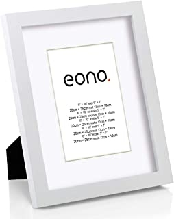 Eono by Amazon - Marco de Fotos de Madera Maciza y Cristal de Alta Definición para Pared Fotos de 13x18 cm con paspartú y de 20x25 cm sin paspartú Blanco