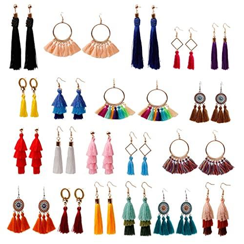 Pendientes con borlas 20 pares para mujer Juego de pendientes colgantes de hilo largo con abanico colorido, Pendientes bohemios multicapa