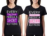 ALLNTRENDS Set of 2 Women's T Shirt Every Tall Girl Needs Short BF Matching Tees (Short S Tall M, Black)