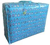 Extragrosse Aufbewahrungstasche 115 Liter. Blaue Strandhütten Muster. Spielzeug, Waschen und Wäschesack