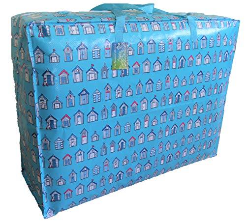 The Pescara Collection Extragrosse Aufbewahrungstasche 115 Liter. Blaue Strandhütten Muster. Spielzeug, Waschen und Wäschesack