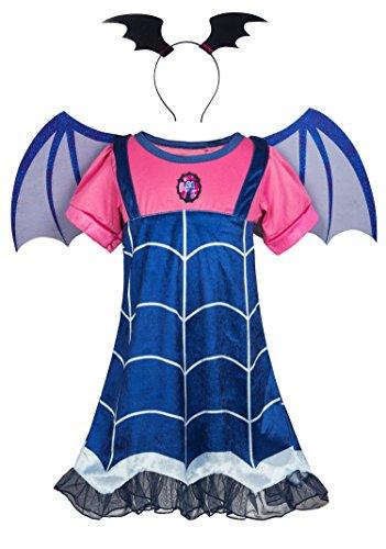 Wenge Girls Vampirina Cartoon Costume Skirt Set Dress+Hair Band+Wing for Girls (5-6Y/130cm, Blue)