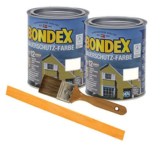 Bondex Dauerschutzfarbe deckend 2 x 0,75l Wetterschutzfarbe Holzschutzfarbe Holzfarbe bis zu 12 Jahre wetterbeständig für Holz und Zink Außen inkl. Pinsel und Rührstab (morgenweiss)