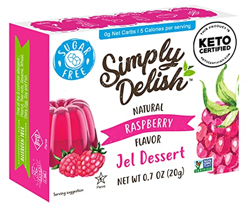Simply Delish Natural Jel Dessert - Sugar Free, Non GMO, Gluten Free, Fat Free, Lactose Free, Keto Friendly - 0.7 OZ (Pack of 1)