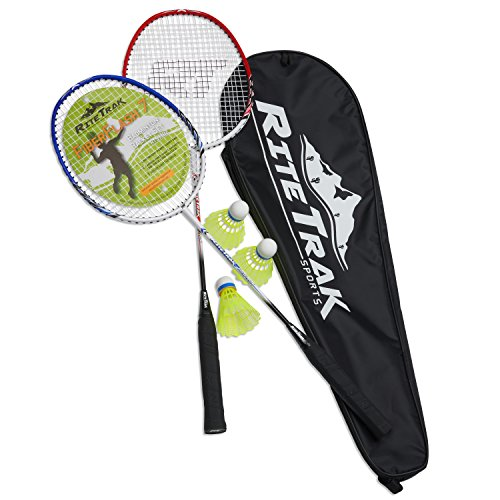 FiberFlash 7 Badminton Racket Set, Featuring 2 Carbon Fiber Shaft Racquets, 3 Shuttlecocks Plus Fabric Carrying Bag All Included (Red/Blue/White)