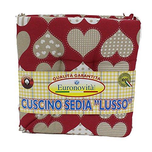 Euronovità, Set 6 Cuscini Rossi con Cuori, Trapuntati al Centro 40x40 Spessore 5 cm, Copri Sedia Cucina