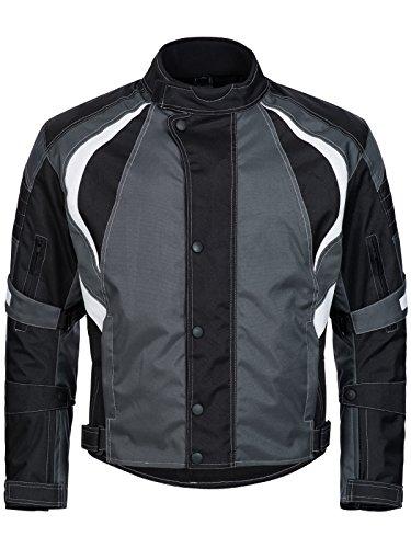 Limitless Herren Motorradjacke mit Protektoren - Textil Motorrad Jacke aus Cordura - wasserdicht Winddicht Schwarz Grau Weiß 780 Gr. 4XL