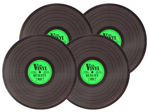 4-er Alsino Platzset Retro Schallplatte 145088 Vinyl Tischset grün Kunststoff Abwaschbar Plattenspieler Tischunterlage