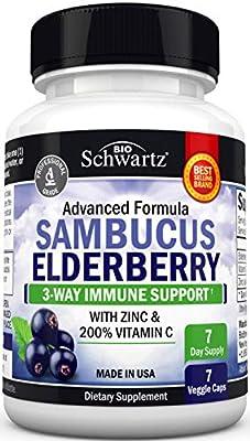 Sambucus Elderberry Capsules with Zinc & Vitamin C - Women & Men's Daily Herbal Supplement for Immune Support, Skin Health - Powerful Antioxidant - Natural Elderberries - Veggie Caps