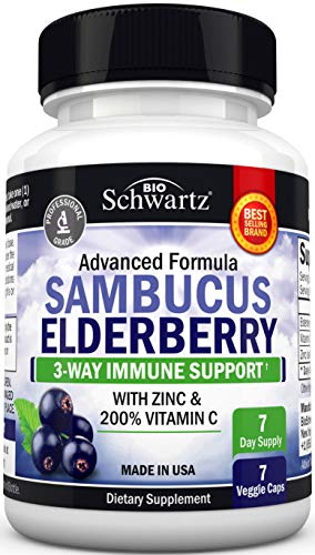 Sambucus Elderberry Capsules with Zinc & Vitamin C - Women & Men's Daily Herbal Supplement for Immune Support, Skin Health - Powerful Antioxidant - Natural Elderberries - Veggie Caps - 7 Capsules