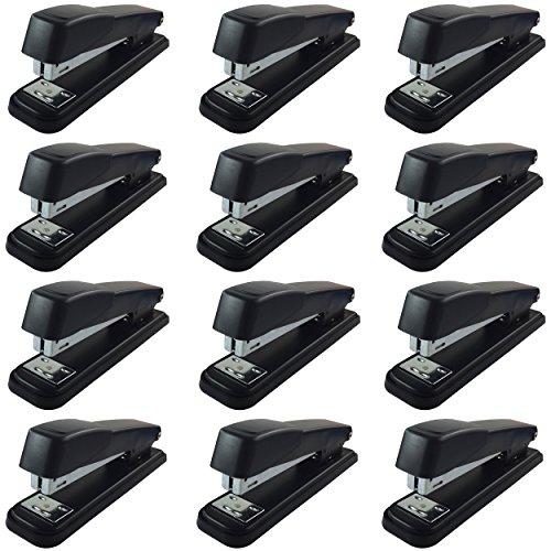 Clipco Stapler with 2000 Staples Full Desk Size Black (12-Pack)