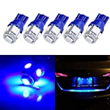 2012 Acura TSX License Plate Light Bulbs - cciyu 194 Extremely Bright LED Bulbs T10-5-5050-SMD Light Lamp License Plate Light Lamp Wedge T10 168 2825 W5W Blue Pack of 5