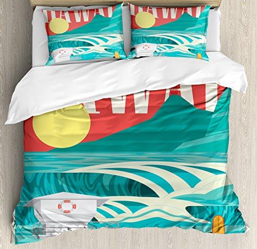 Hawaiian Decorations Duvet Cover Set by Ambesonne, Hawaii Sandy Coastline...