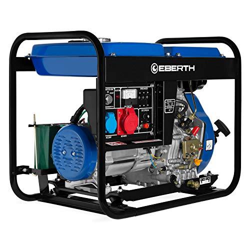 EBERTH 5000 Watt Diesel Stromerzeuger mit Startkstromsteckdose (E-Start, 10 PS 4-Takt Dieselmotor, Ölmangelsicherung, Automatischer Voltregler AVR, 3-Phasen, 1x 400V, 1x 230V, 1x 12V)