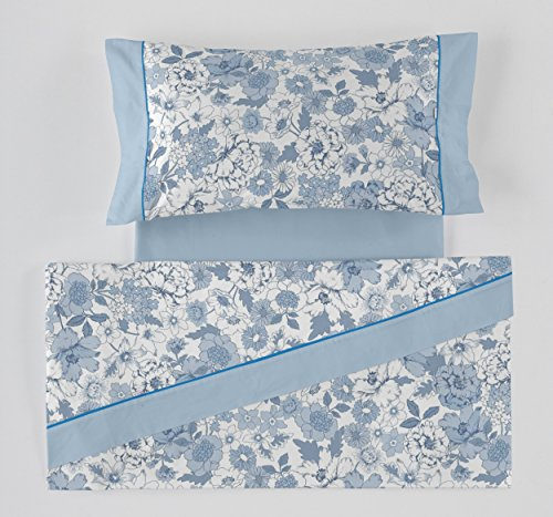 ES-Tela - Juego de sábanas Estampadas Erica Color Azul (3 Piezas) - Cama de 135/140 cm. - 50% Algodón/50% Poliéster - 144 Hilos