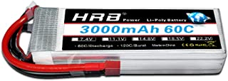 HRB 4s 14.8v 3000Mah 60C RC LiPo Battery with T Plug for Helicopter,:E-flite Rare Bear, Fury 15 DF etc
