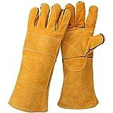 WFSH Guantes de soldadura, guantes de protección, aislamiento para estufa Tig Mig, color amarillo
