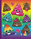 Cute Emoji Rainbow Poop Journal: 160 Page Softcover Journal, College Ruled Composition Notebook, 8'x10' Blank Lined Diary book for Girls, Boys, Teens, ... Journaling, Office Work, Notes and School