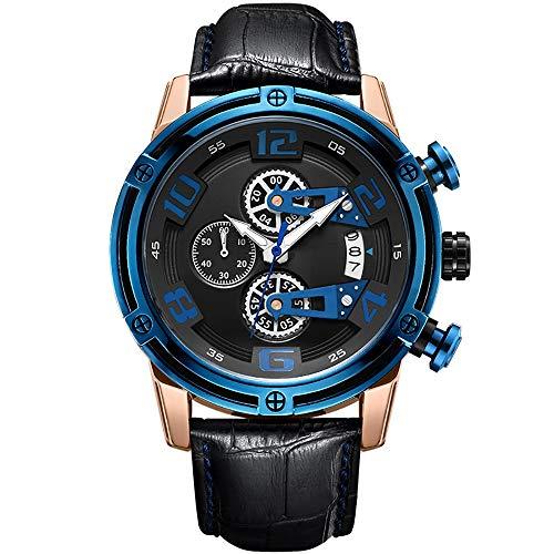 Voigoo Dial kreative große Herren Quarz Uhren Leder Chronograph Armbanduhren Military Sports Uhr Male Relogio Masculino