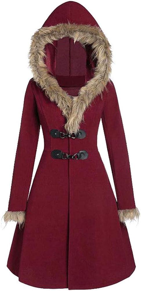 JMSUN Autumn and Winter Woman Faux Fur Hood Longline Coat